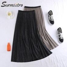 Surmiitro Shiny Midi Pleated Skirt Women For Spring Autumn 2020 Ladies Korean Casual High Waist Black A Line Long Skirt Female