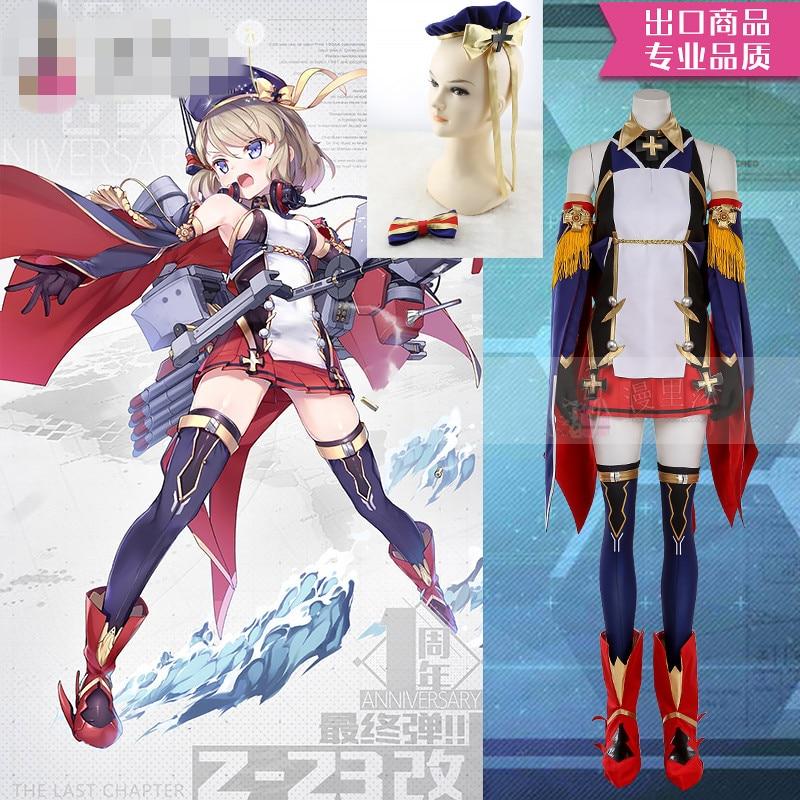 Trajes de Anime Vestido de Luta Traje a Azur Lane Feminino Cosplay Traje a Z23