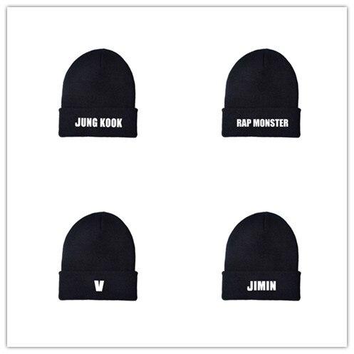 KPOP Jungkook V Suga Jimin Rm j-hope Jin RAP MONSTER mismo gorro de lana versión coreana sombrero de punto nombre hombres mujeres sombrero caliente al por mayor