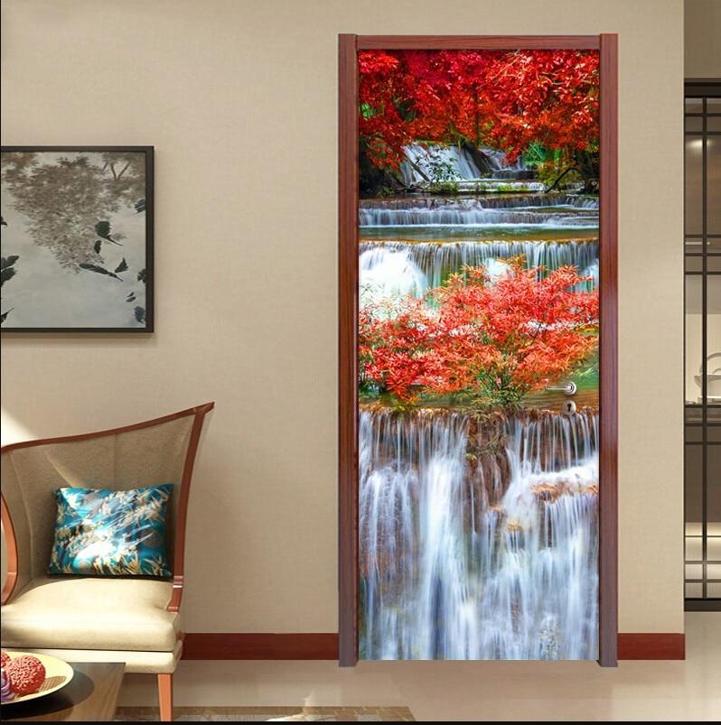 Hoja Roja árbol cascada puerta pegatinas 3D sala de estar puertas escena China carteles decorativos impermeable arte papel tapiz para dormitorio