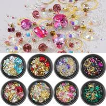 1 Box 3D Rhinestones Glitter Beads Metal Frame Nail Art Jewelry Filling Mix Design Filling DIY UV Resin Epoxy Mold Making