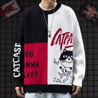 harajuku style color matching cartoon knitted sweater autumn and winter new ins tide brand bf loose crew neck sweater men