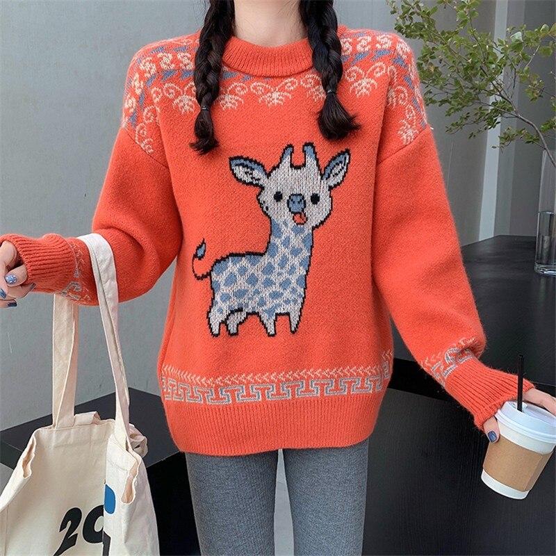 Трикотажные свитера в Корейском стиле с изображением оленя, теплые женские свитера и пуловеры, 4 цвета, Осень-зима 2020