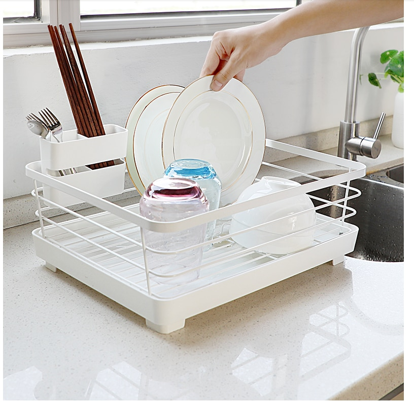 Household Kitchen Tableware Drainage Rack Water Filter Rack Dishware Storage Rack Anti-rust Technology Scalable Double Storage