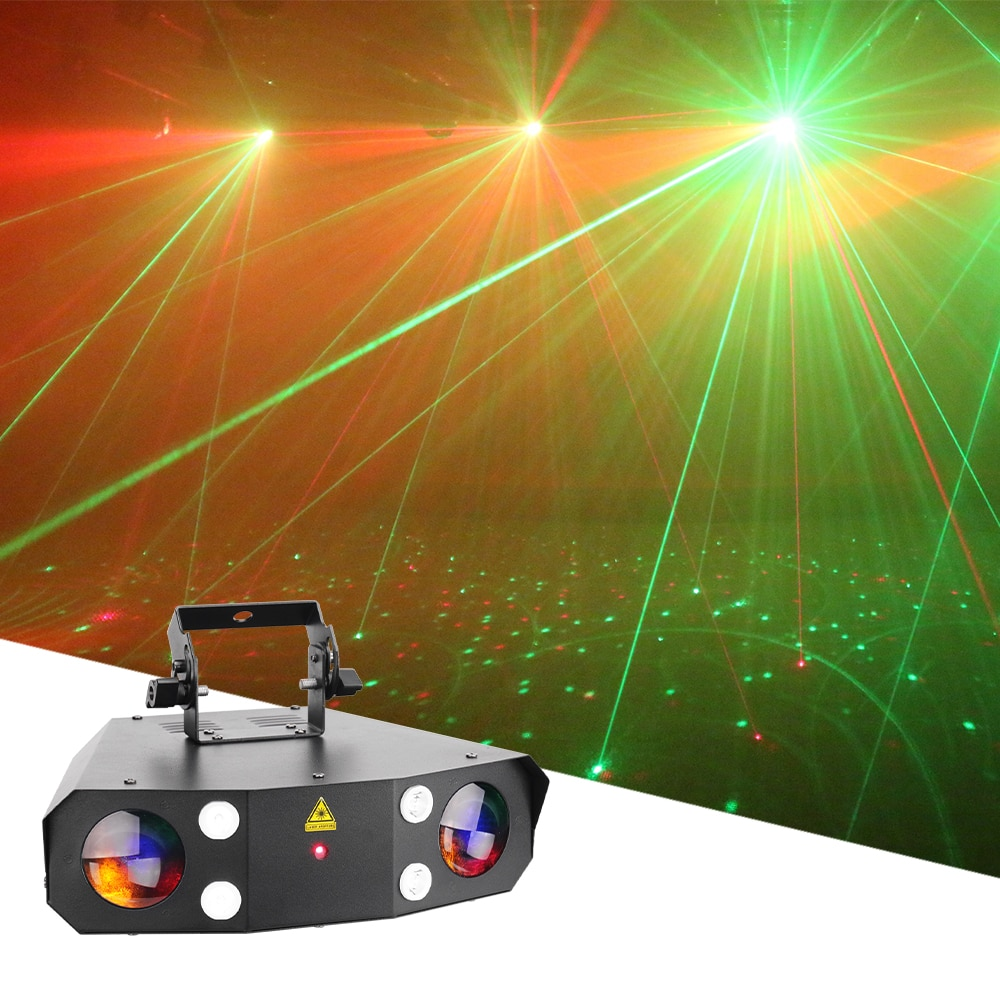 New LED Laeer Strobe Wash 3in1 Effect Light 3X10W RGBWA LED Wash Light LED Music Party Laser Projector For DJ Disco Xmas Bar