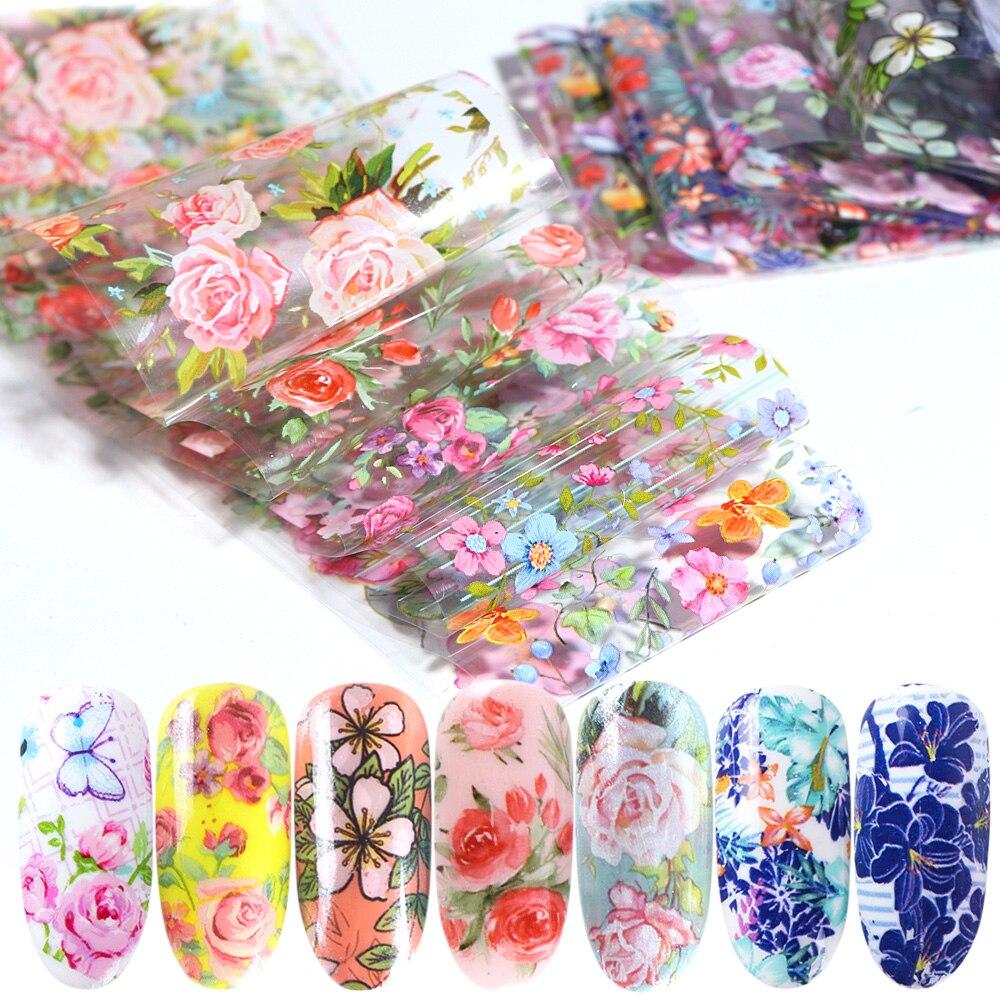 10 stücke Nagel Folie Aufkleber Polish Mix Rose Blume Transfer Folie Nägel Aufkleber Sliders Für Nagel Kunst Dekoration Maniküre Designs JI787
