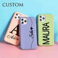 diy name custom letters for iphone 12 pro case se 2020 x xs max couple soft liquid silicone funda 11 pro 6s 7 8 plus 10 xr cover