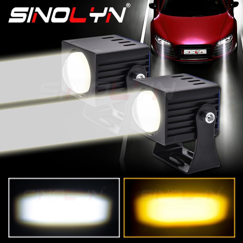 Sinolyn LED أضواء السيارة العدسات العارض عالية شعاع الضباب ضوء مصفوفة مصابيح مصباح أمامي للسيارة ثنائي اللون 3000K/5000K ضبط مقاوم للماء
