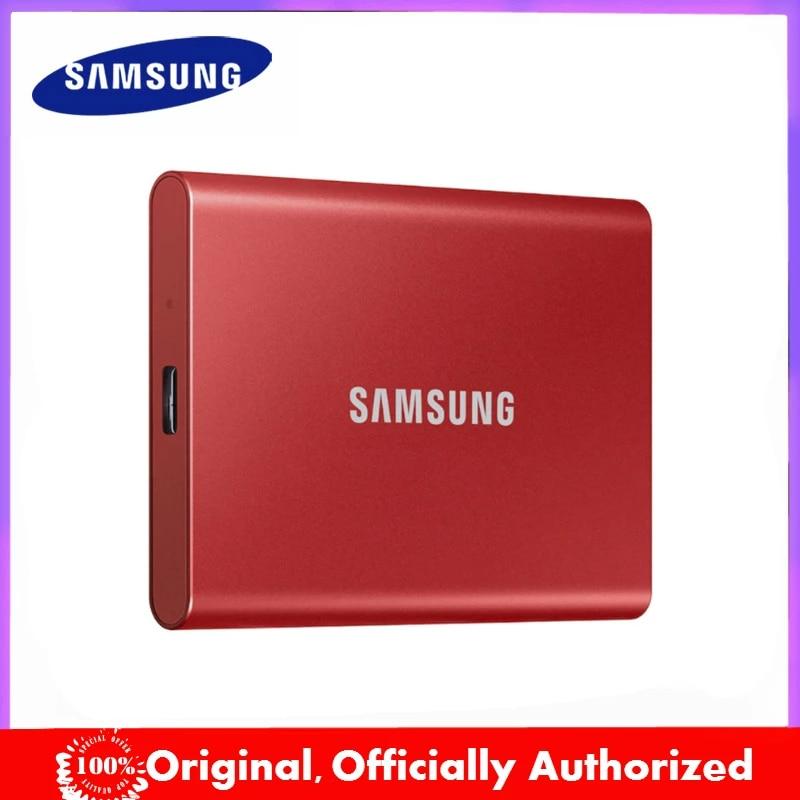 Samsung-قرص صلب خارجي SSD T7 أصلي ، USB 500 Gen2 ، 1 تيرا بايت بايت ، 2 تيرا بايت بايت ، 3.2 جيجابايت ، متوافق مع الكمبيوتر المحمول