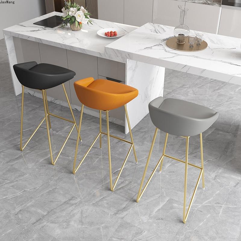 Барные стулья в скандинавском стиле, современный минималистичный барный стул, высокие ножки из кованого железа, офисная мебель для столово...