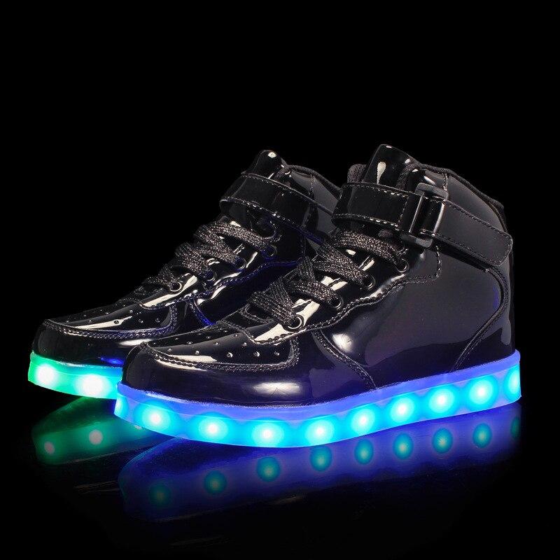 Size 25-39Kids Led USB Recharge Glowing Shoes Children's Hook Loop Shoes Children's Glowing Sneakers Kids Led Luminous Shoes enlarge