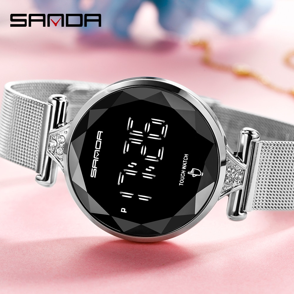 SANDA 2020 Brand New Women Digital Watch Fashion Multifunctional Touch Screen LED Electrical Wristwatch Relogio Digital Hot 8002 enlarge