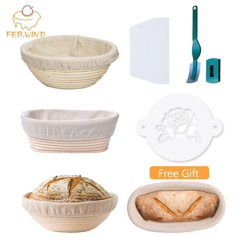 Handmade Rattan Bread Banneton Basket Set With Liner Bread Proofing Baskets Round/Oval Sourdough Proving Basket Bakery Cafe C003