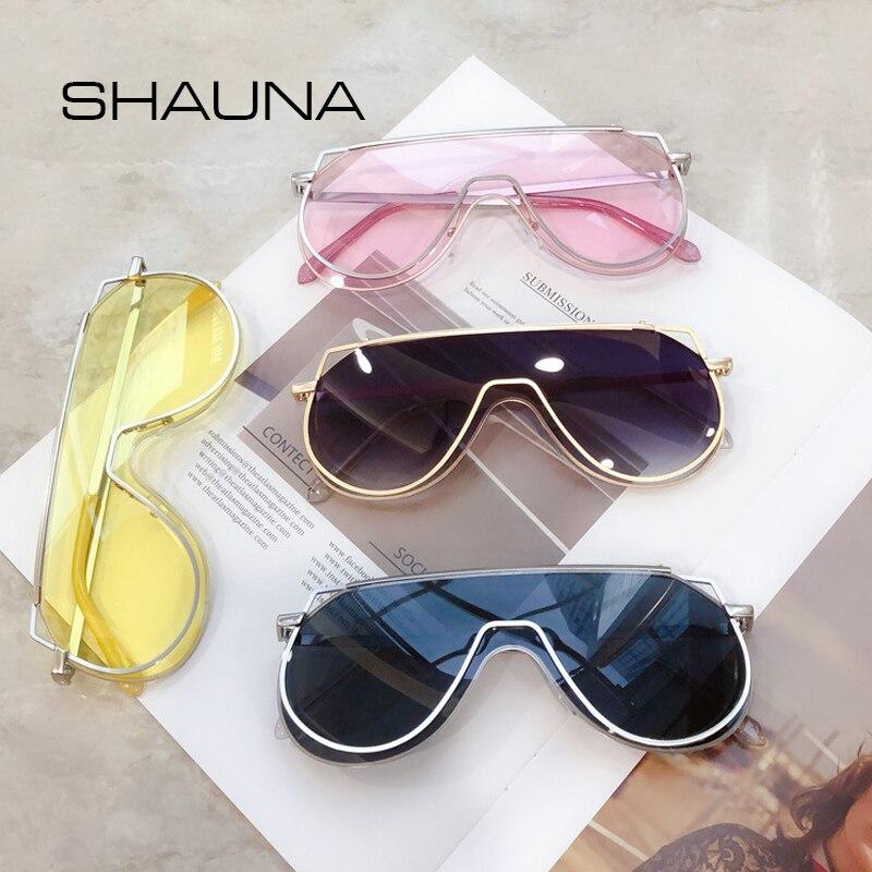 SHAUNA gafas de sol de gran tamaño para mujer, gafas de sol únicas con doble borde para hombre, gafas de sol integradas color rosa champán UV400