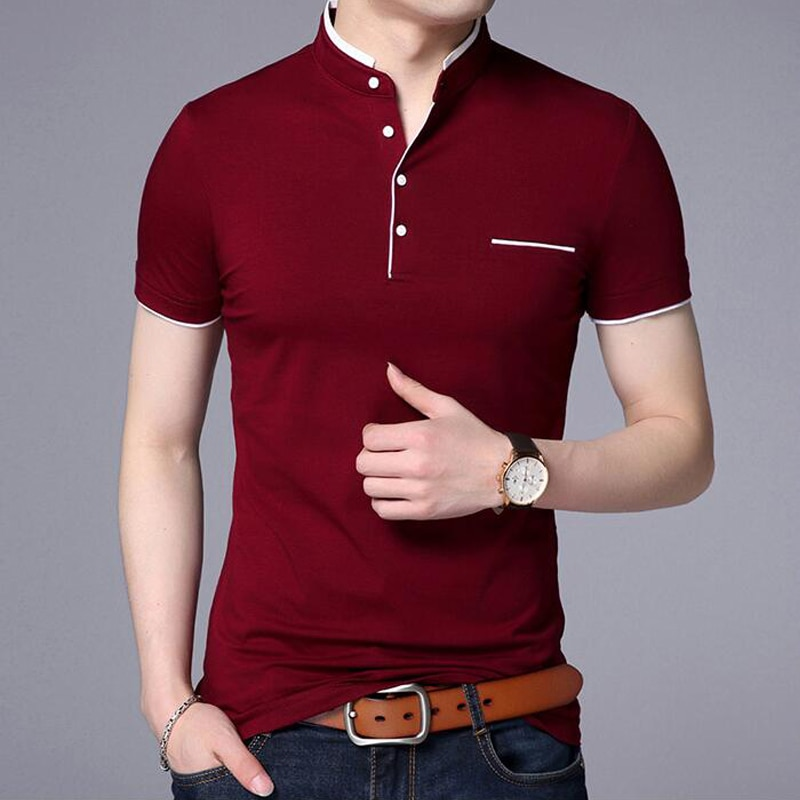 Polo Shirt Men's Casual Pure Cotton Pure Color Breathable T-shirt Golf Tennis Brand Youth Shirt
