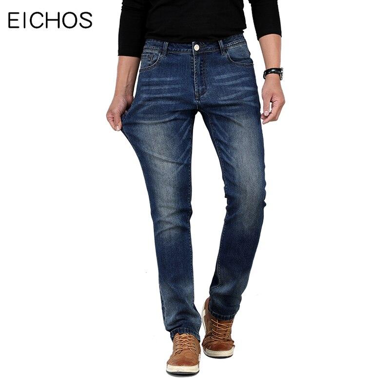 Pantalones vaqueros elásticos informales para hombre, pantalones vaqueros rectos de Otoño de calidad para invierno, pantalones de algodón entallados para hombre, pantalones vaqueros de talla grande 42