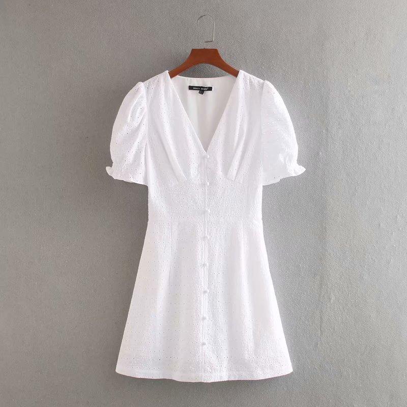 NOVEDAD DE VERANO 2020, vestido de mujer de manga corta de algodón liso bordado blanco zaraing, vestido femenino vintage Cvc9722