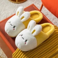 cute animal soft home fluffy slippers pure cotton fabric cartoon style rabbit pattern 2021 cute rabbit indoor slippers