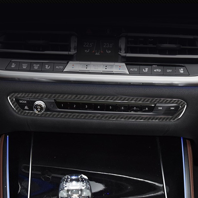 ABS Center Console Volume Button Frame Decoration Cover Trim For BMW X5 G05 2019 Carbon Fiber Color Car Styling