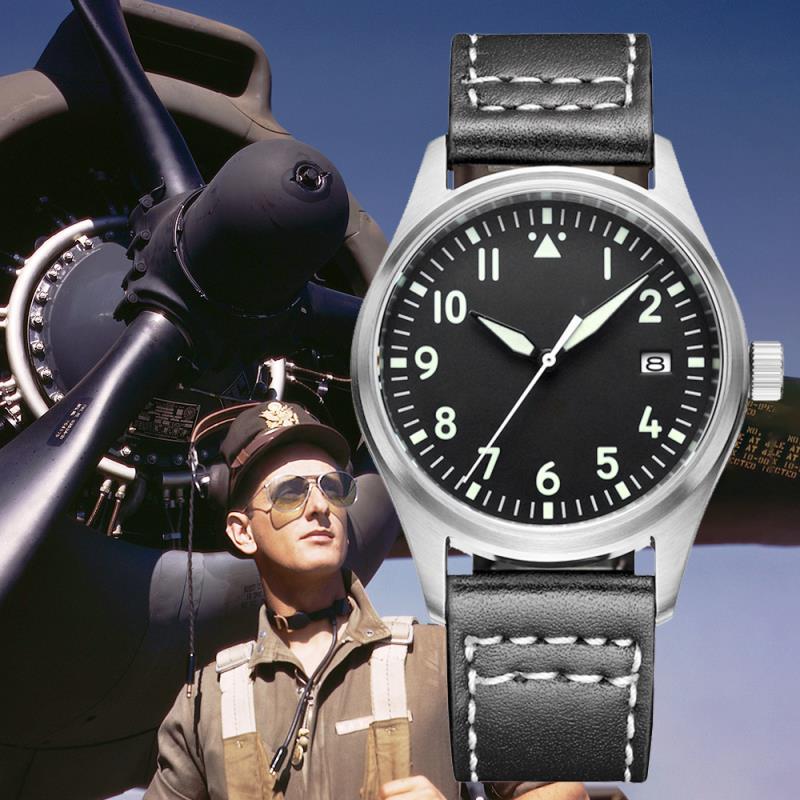 Relógio piloto 200m dive nh35 japão relógio de pulso mecânico automático dos homens