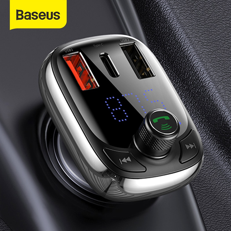 Baseus FM Transmitter Bluetooth 5.0 Handsfree Car Kit Audio MP3 Player With PPS QC3.0 QC4.0 5A Fast