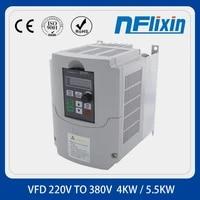 vfd 4kw 5 5kw vfinverter 220v single phase input to 380v 3 phase output frequency converter