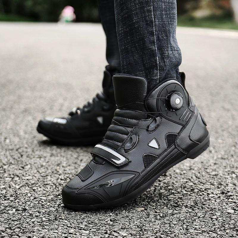 MJ MOTO New Brand Motorcycle Shoes Men/Women Pink/Black Motocross Boots Breathable Bike Shoe Self-Locking Ultralight Athletic