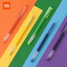 Xiaomi Mijia суперпрочная дужка с красочные письма знак ручка 5 видов цветов Mi ручка 0,5 мм гелевая ручка черного цвета подписания ручек для школы и офиса для рисования
