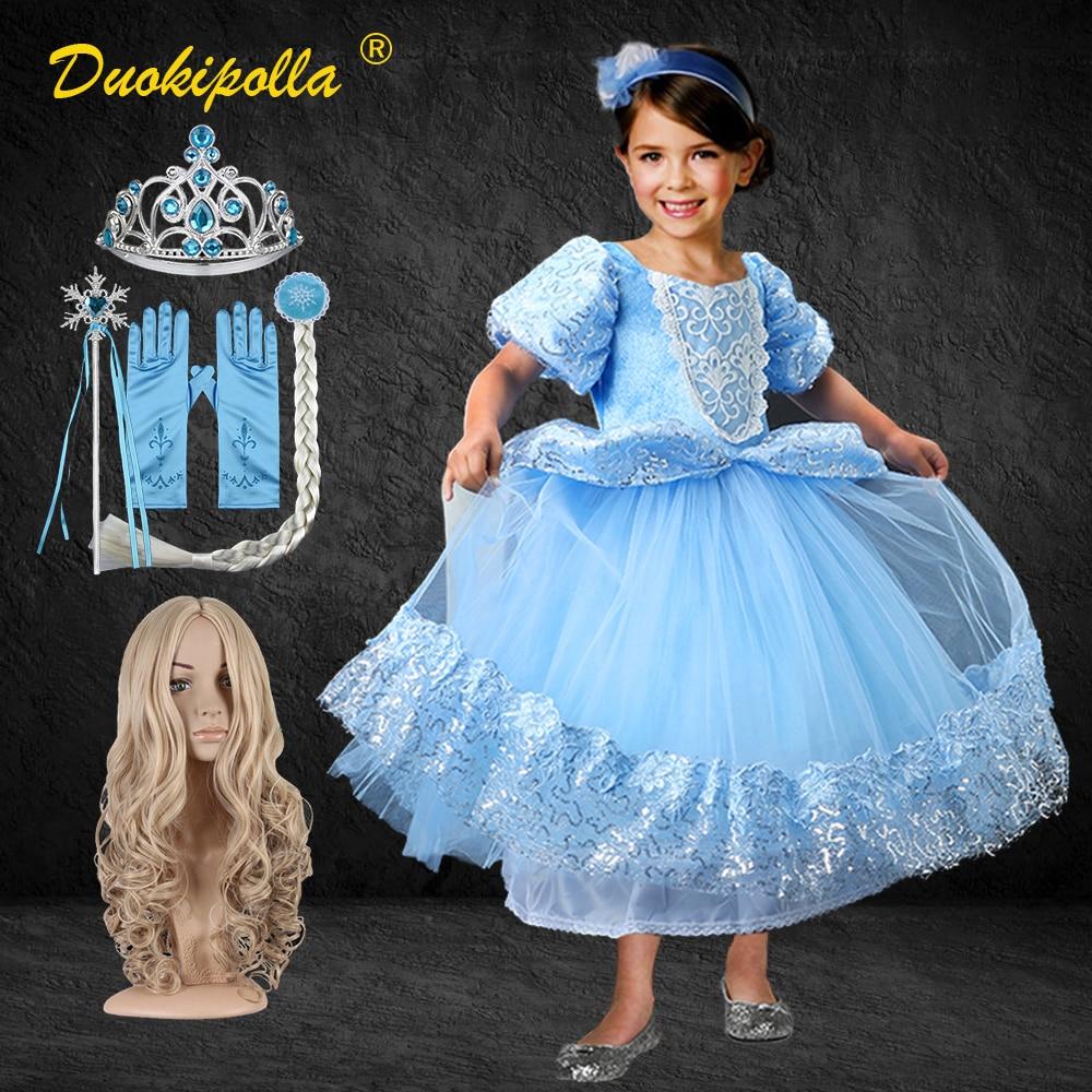 Navidad vestido de Cenicienta niñas niños Luz de encaje azul vestidos para...