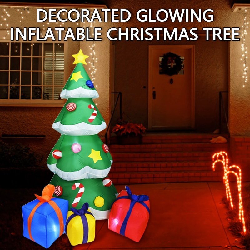 2.1M LED Inflatable Outdoor Glow Christmas Tree Merry Christmas Decor For Home 2020 Christmas Ornament Xmas Navidad New Year недорого