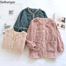 Women Winter Sleep Tops Flannel Single Breasted Sleepwear Casual Warm Thicken Soft Clothes Female Ho