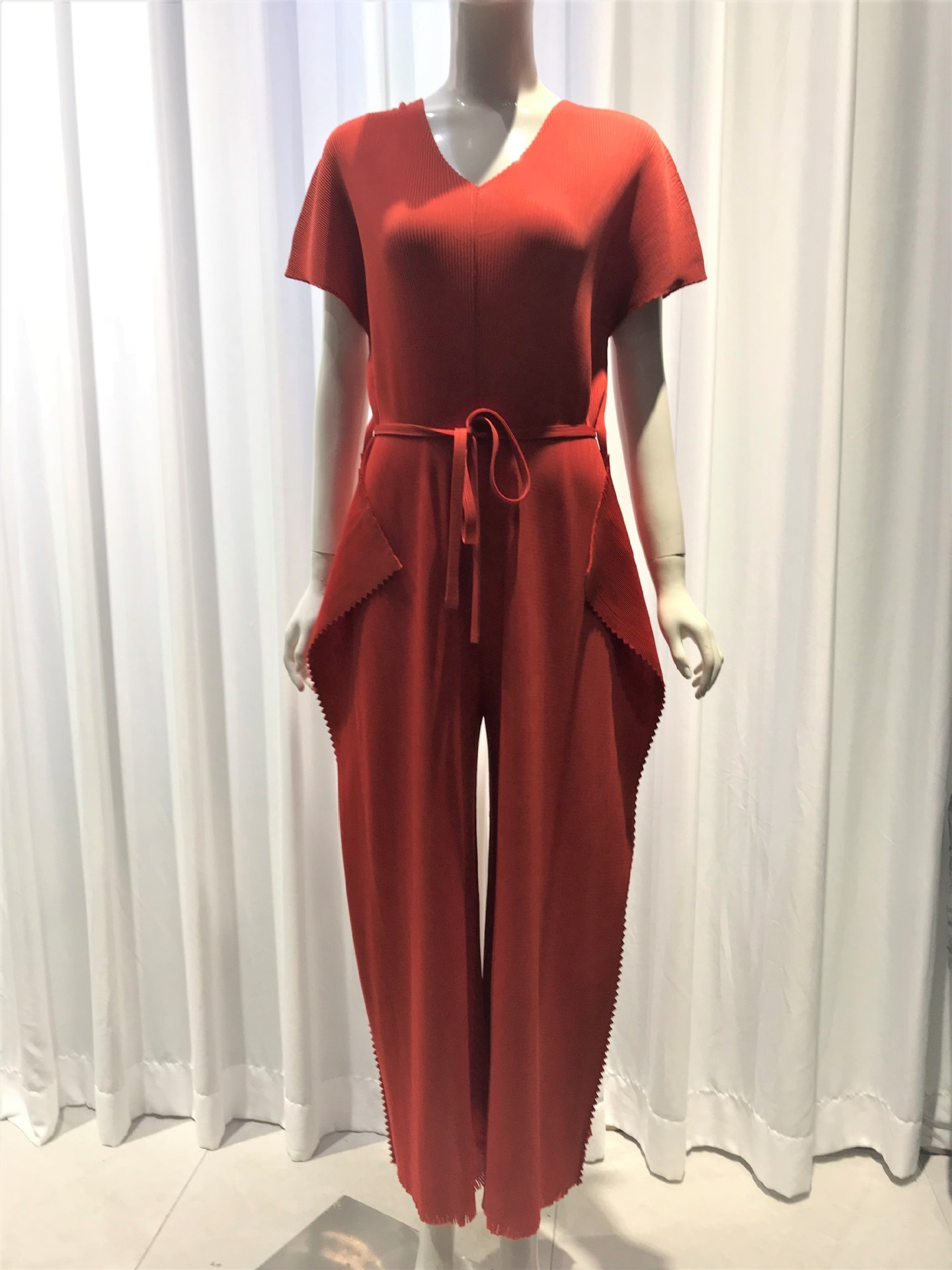 Changpleat 2021 elegant jumpsuits for women Miyak Pleated Fashion Solid Wear a belt Female one piece outfit wide leg jumpsuit
