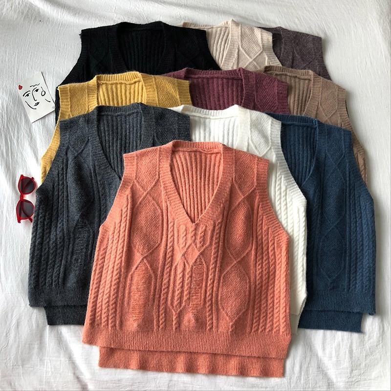 Sin mangas de Color sólido cuello pico de punto suéter Chaleco de las mujeres de moda Twist Costuras holgadas lado Split suéter chaleco Mujer