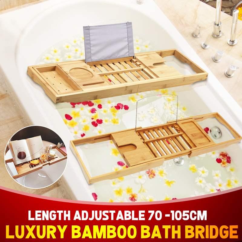 Bamboo Bathtub Tray Shelf For Bath Tub Tray Spa Bathtub Book Wine Tablet Holder Reading Rack Bathtub Bathroom Accessories