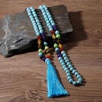 108 beaded hand knotted necklace japa mala meditation yoga prayer jewelry 7 chakra rosary energy long tassel pendant