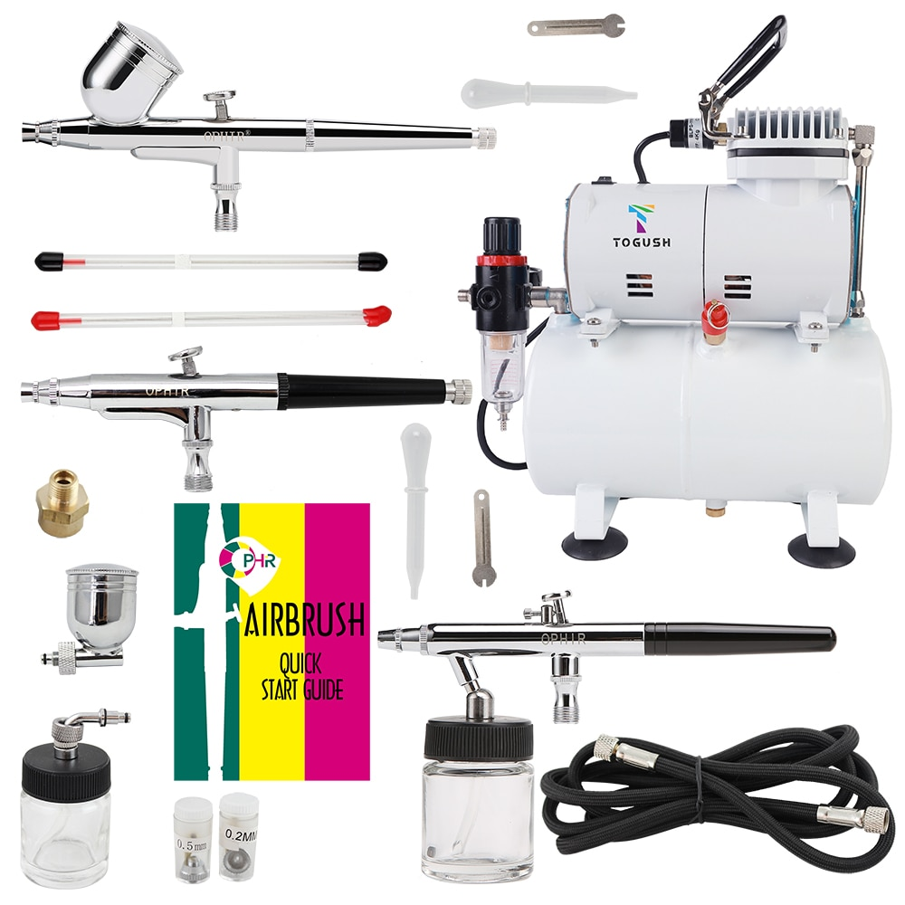 OPHIR Professional 3-Airbrushes Dual Action 0.3mm 0.35mm 0.5mm Air Tank Compressor Kit for Body Paint Tattoo AC134+004A+072+074
