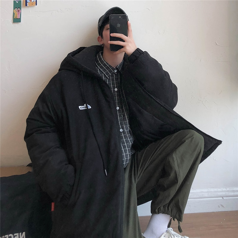 Luxury Men Parka Windproof Thicken Coat Thicken Loose Outdoor Hooded  Black Jacket Sobretudo Masculino Streetwear BD50PS