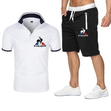 2021 New Summer Casual Fashion Printed Polo Shirt Suit Men's Brand Loose Breathable Polo+ Shorts Set