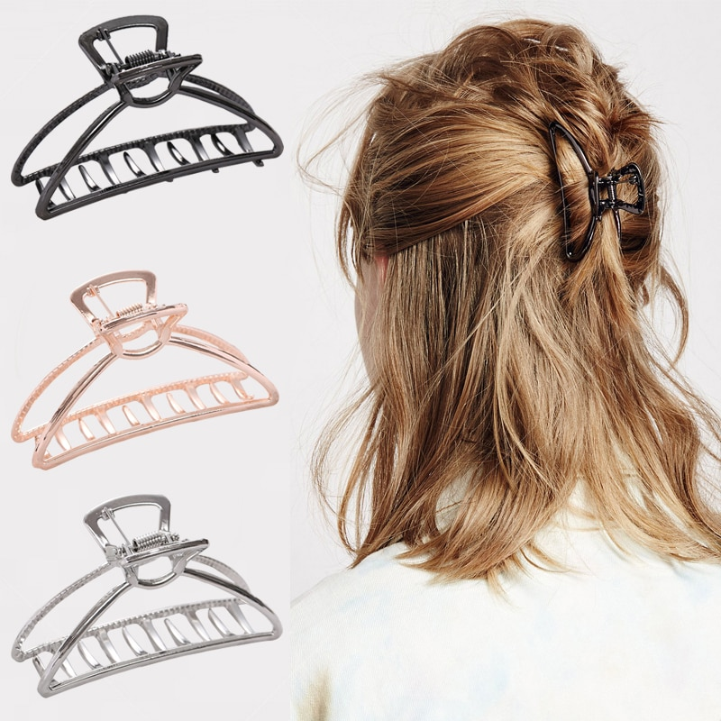 Women Girls Geometric Hair Claw Clamps Metal Crab Moon Shape Clip Solid Color Hairpin Large Size Accessories