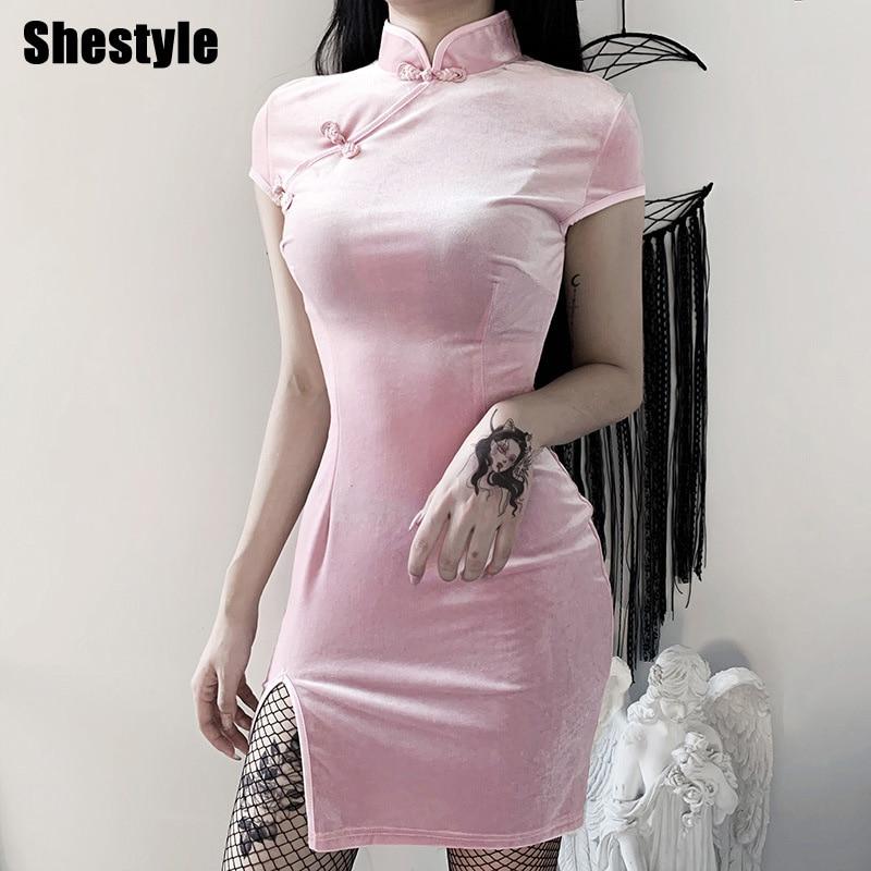 Женское бархатное платье Ципао She style, однотонное винтажное элегантное платье Ципао в готическом стиле, розовая и черная одежда