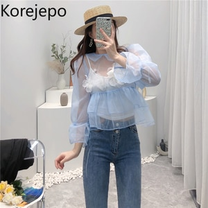 Korejepo Women Shirt 2021 Summer New French Sweet Puffy Puff Sleeve Organza Shirt Top Baby Shirt Camisole Two Piece Set Female