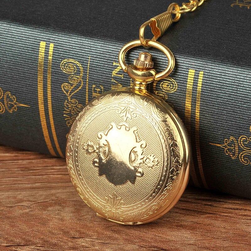 Vintage Pocket Watch Gold Shield Pattern Large Chain Fashion Exquisite Quartz Gift
