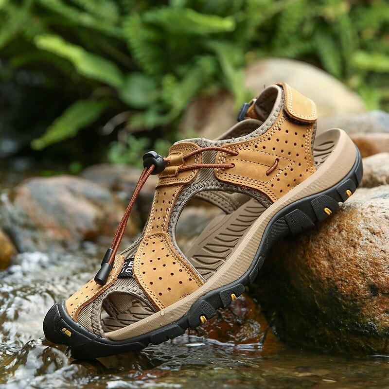 Sandalia masculina de verano de cuero, gladiador romano de vaca, sandalias para hombre, zapatos de piel auténtica informales para exteriores, hechos a mano, 39 hombres de goma