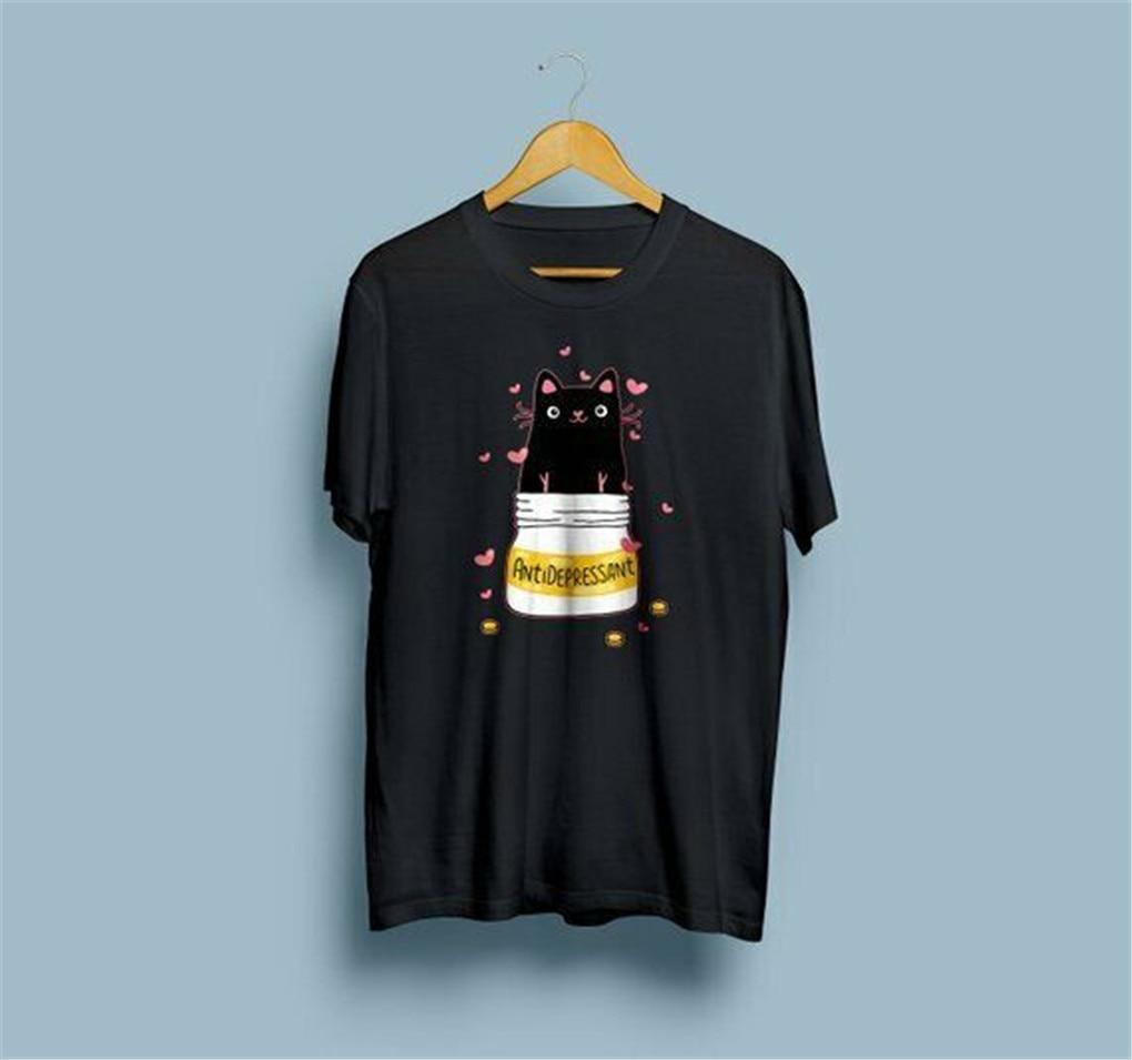 Camiseta de algodón con estampado de gato antidepresor de manga corta