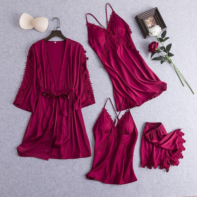 JULY'S SYJJF 4 Pieces Faux Silk Pajamas Set Women Sexy  Lace Sleepwear Elegant Soft Breathable Homewear Nightwear Dresses Female