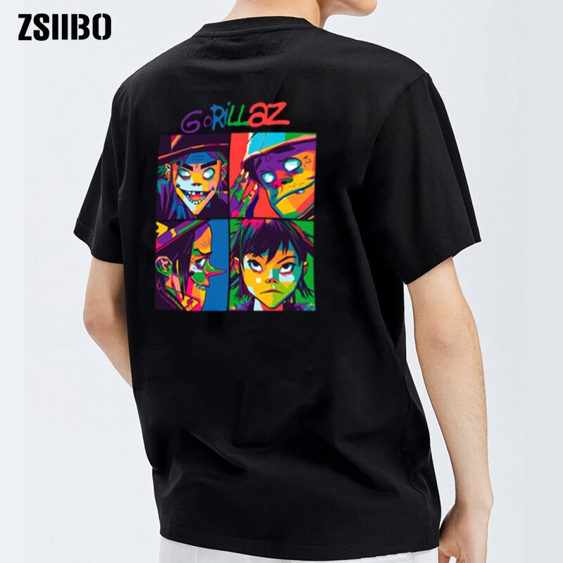 Camiseta de gorillaz de algodón de Banda Musical de marca de verano 2020, camisetas de manga corta para hombres, camiseta informal de Anime para chico, moda hip-hop punk
