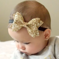 sparkling hair accessories bow baby girl headbands elastic multicolor infant baby headband birthday party headwear 1pc