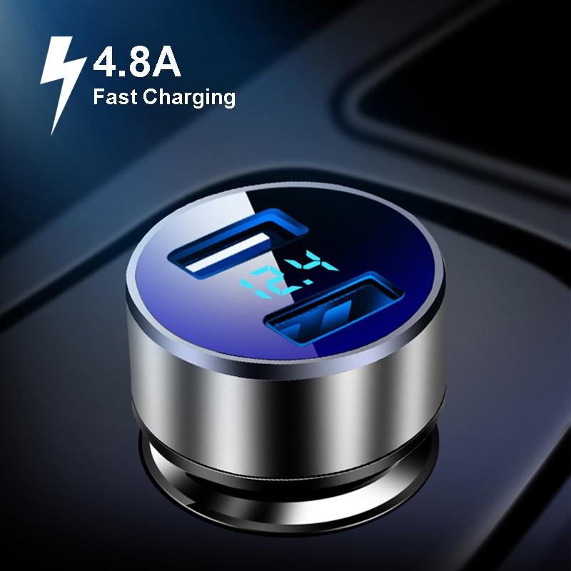 Автомобильное зарядное устройство с двумя USB-портами, 12 В, 24 В