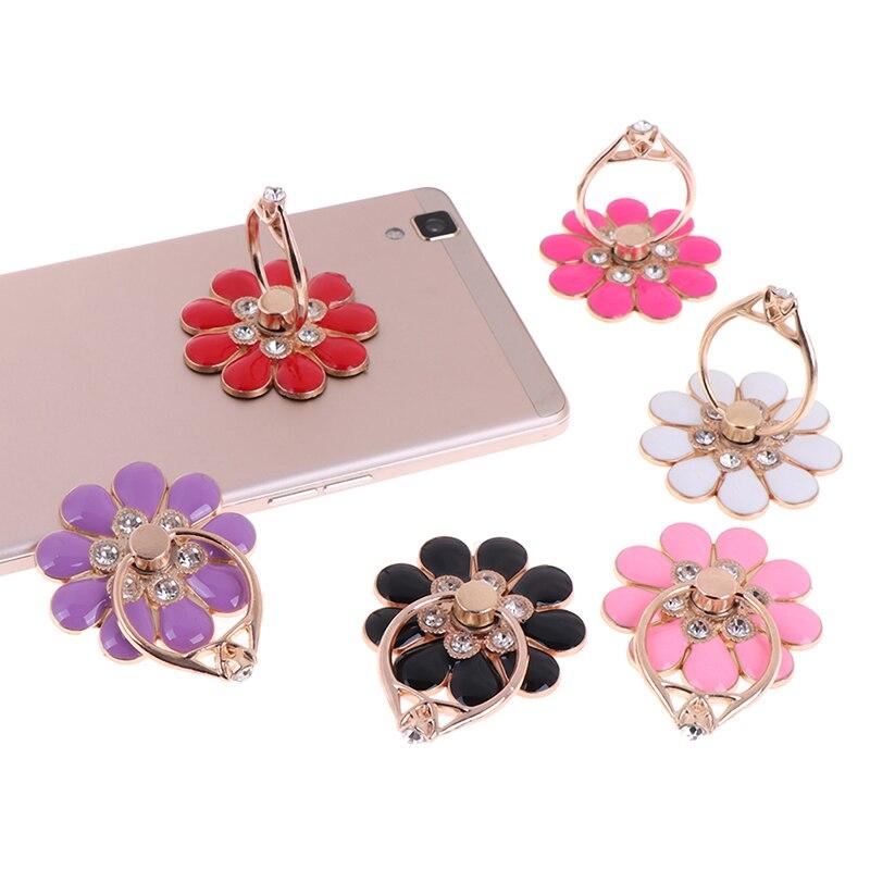 Suporte do telefone móvel reutilizável flor dedo anel smartphone colorido metal suporte suporte do telefone suporte para todo o telefone