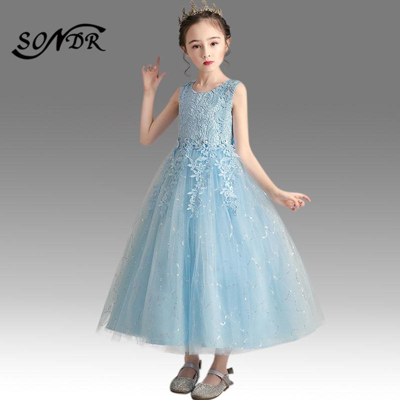Embroidery Pageant Dress HT014 O-Neck Sleeveless Flower Girl Dresses Beading Bow Communion Sequined Elegant